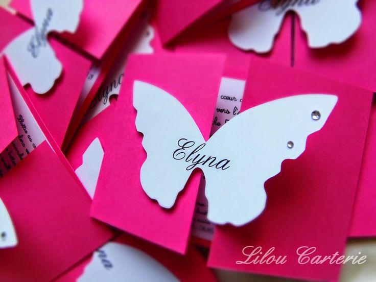 faire part bapteme papillon