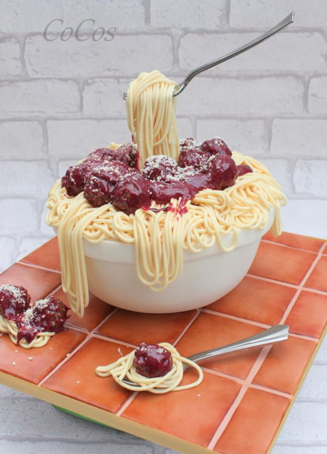 spaghetti and meatballs gravity cake  by Lynette Brandl