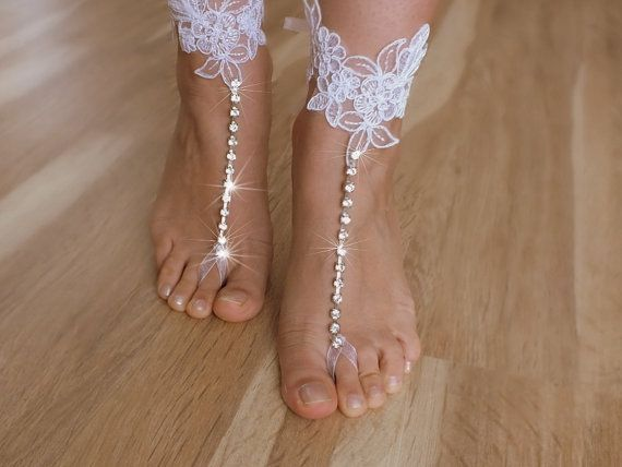bridal anklet white lace anklet  Beach wedding by WEDDINGGloves, $30.00