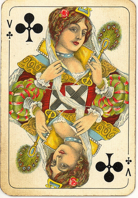 Dutch playing cards from 1920-1927: Queen of Clubs by Michiel2005, via Flickr