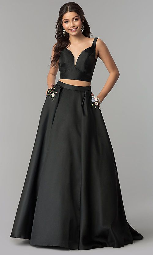 cbe34fc79c0 A-Line Long Two-Piece V-Neck Prom Dress by Alyce