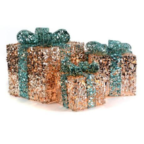Champagne & Teal Christmas Present, Set of 3