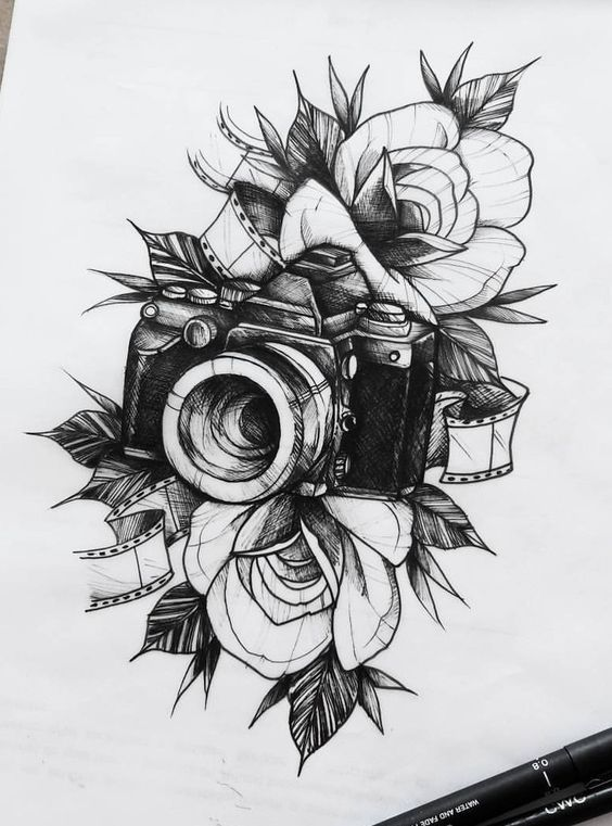 0b49ff594aca7 19 Best Flower Tattoos Ideas | sketches in 2019 | Camera tattoos, Art  sketches, Flower tattoos