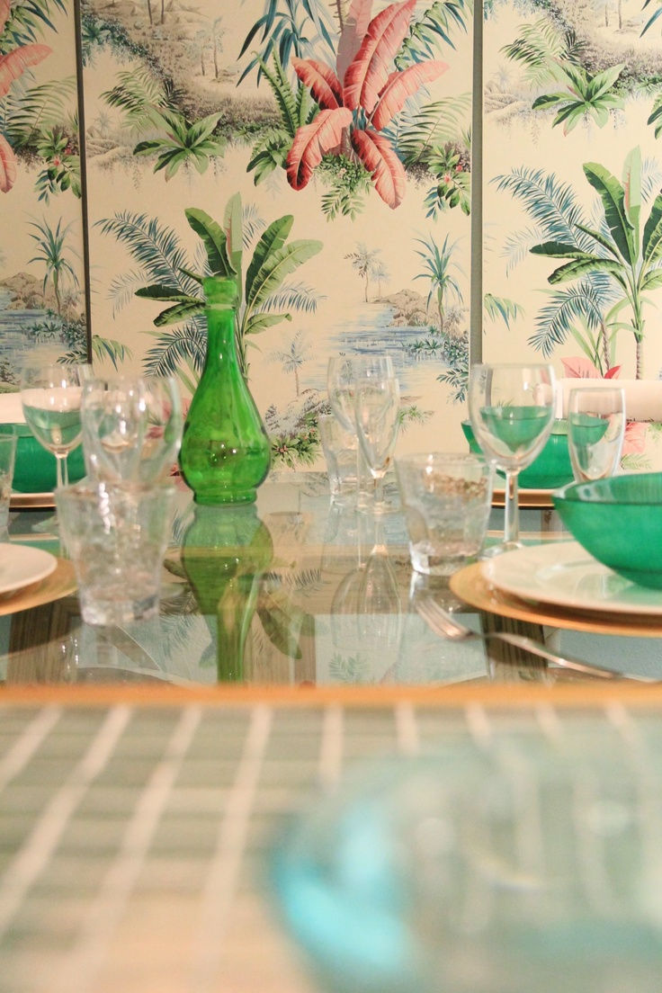 Tropical House Project by Ana Antunes - for Tv Makeover Show - pierre frey wallpaper, emerald green objects