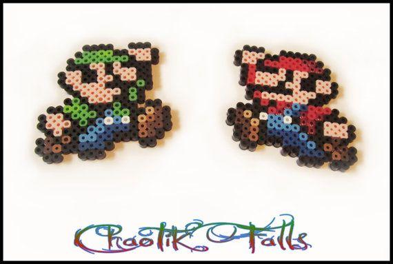 Pixel Art Mini Mario and Luigi Perler Beads by Chaotik Falls, $6.00CAD plus shipping.