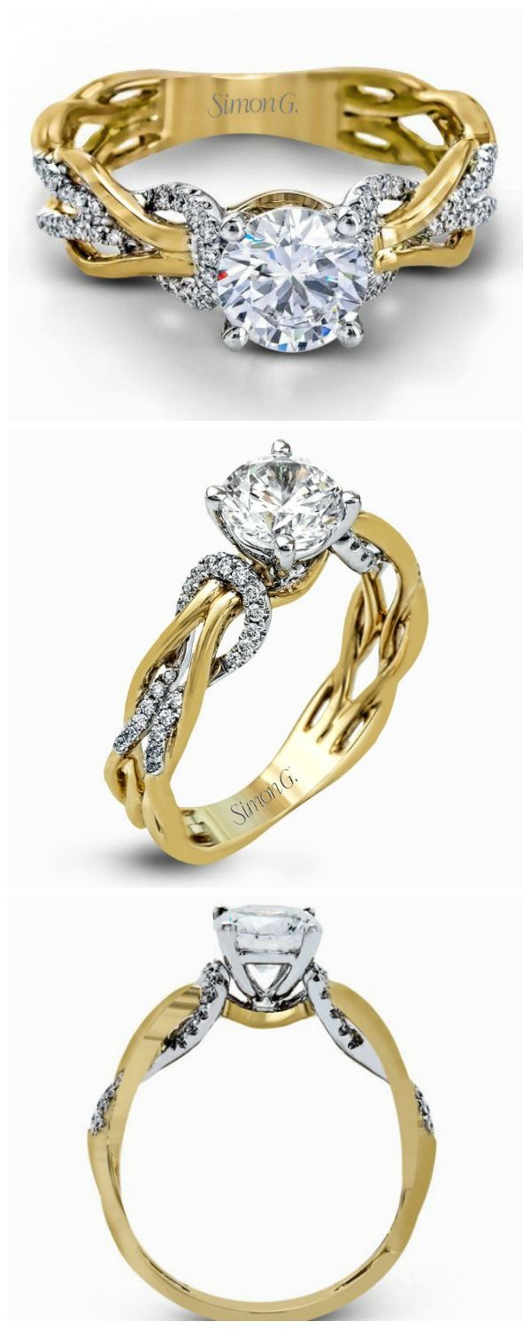 Contemporary two-tone engagement ring