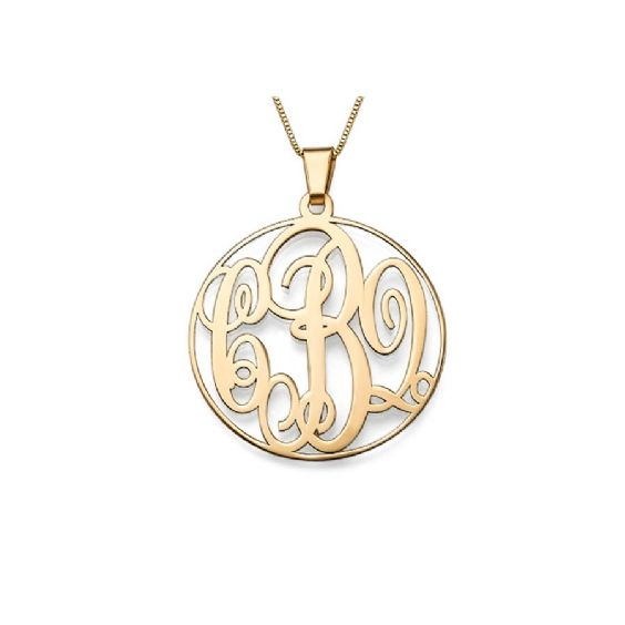 This elegant solid gold monogram necklace is both unique and personal. Select up to three initials to form part of the monogram design which are then featured inside a gold circle. Necklace is made of double thickness 14kt solid gold and comes with a gold Box chain. Traditionally the monogram would be structured with the surname initial in the centre with the first name initial to the left and middle name initial to the left, however the choice is yours. … #annalouoflondon