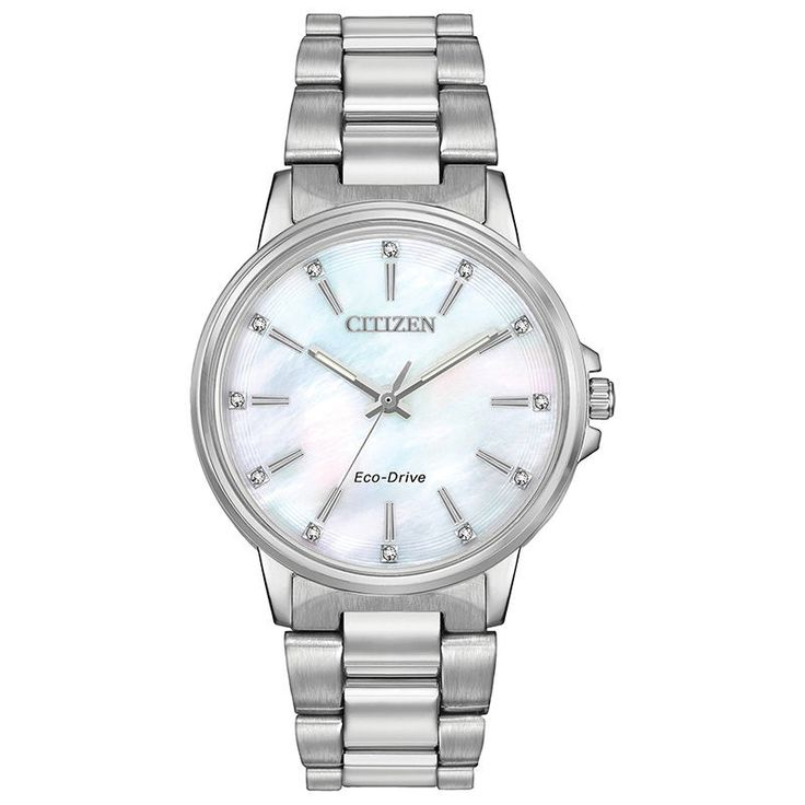 Ladies' Citizen Eco-Drive® Chandler Crystal Accent Watch with Mother-of-Pearl Dial (Model: FE7030-57D)