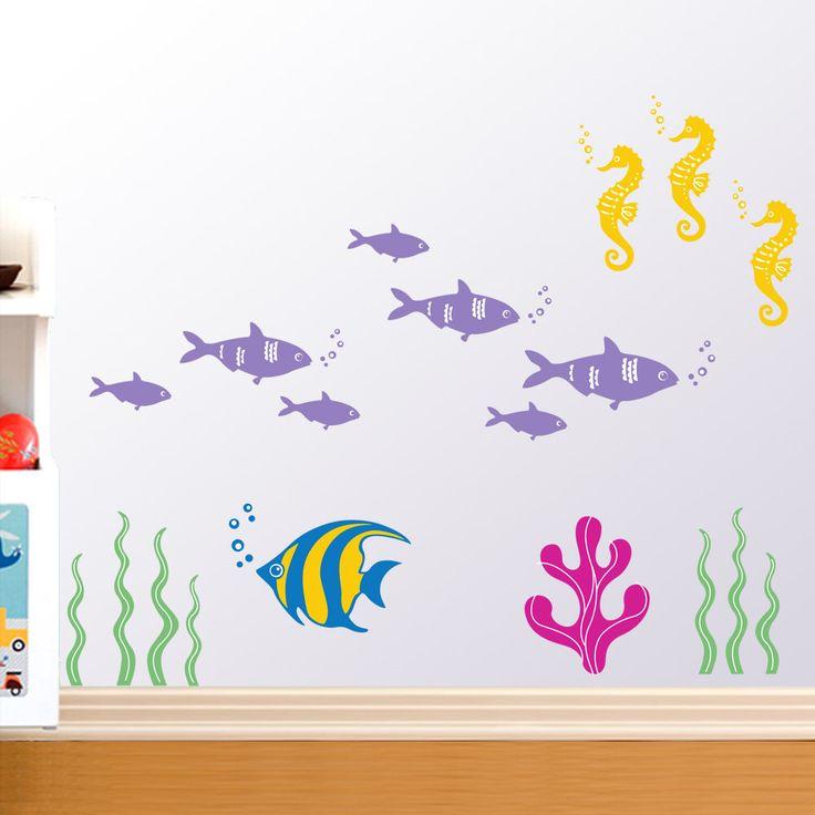 Ocean Kids Wall Decals - Seahorse, Tuna Fish, tropical Fish, Seaweed, Coral by KikiDecal on Etsy https://www.etsy.com/listing/88059810/ocean-kids-wall-decals-seahorse-tuna
