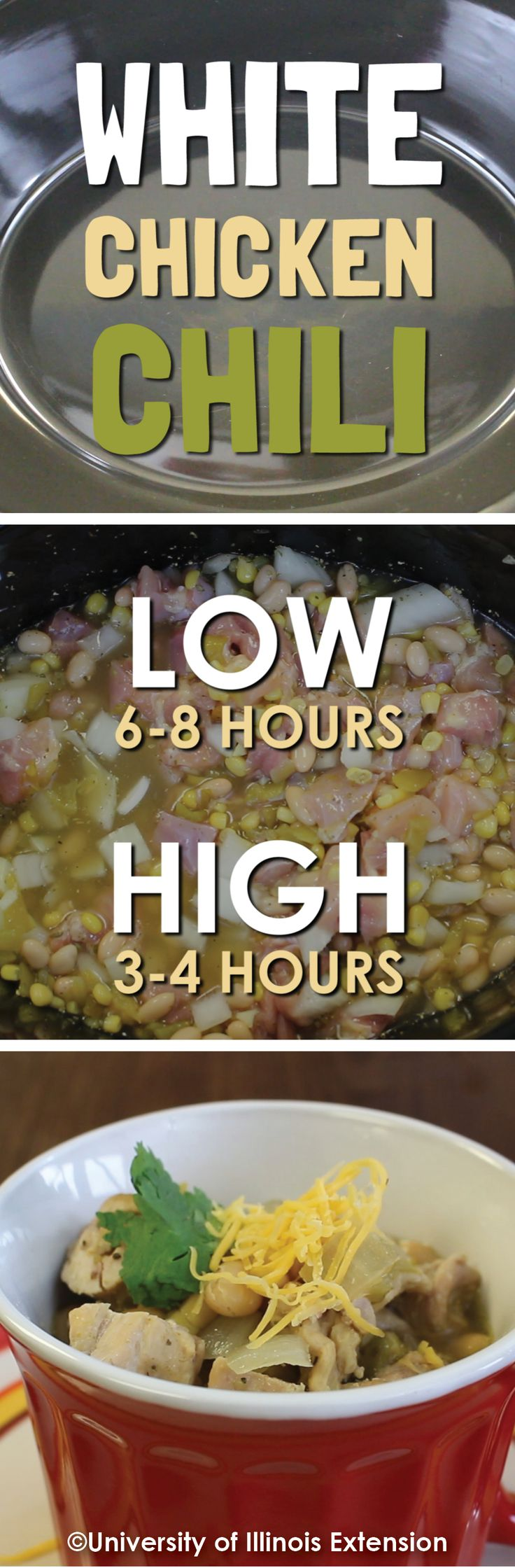 Nothing says comfort like easyslow cooker chili! Use canned corn and beans for a meal you can prep in the morning and have waiting for dinner. Perfect for parties too! Find this and more crockpot recipes at http://web.extension.illinois.edu/dmp/eb344/entry_12960/.