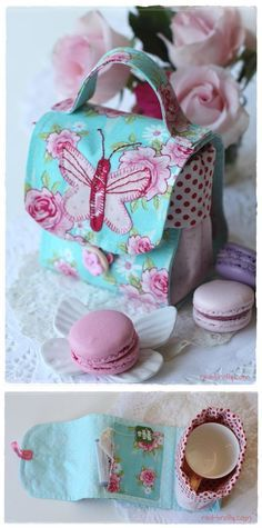 ~ Sweet little bag ~ Free Pattern + Instruction - Sew Chic Butterfly Mug Bag by Bronwyn Hayes of Red Brolly ~