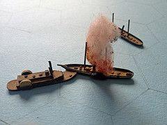 The Battle Of Galveston (Kaptain Kobold) Tags: galveston game fire miniatures texas smoke ships battle ram naval wargame hex myfave sesquicentennial vessels newyearsday wh acw wargaming gunboat kaptainkobold bayoucity yourfave harrietlane