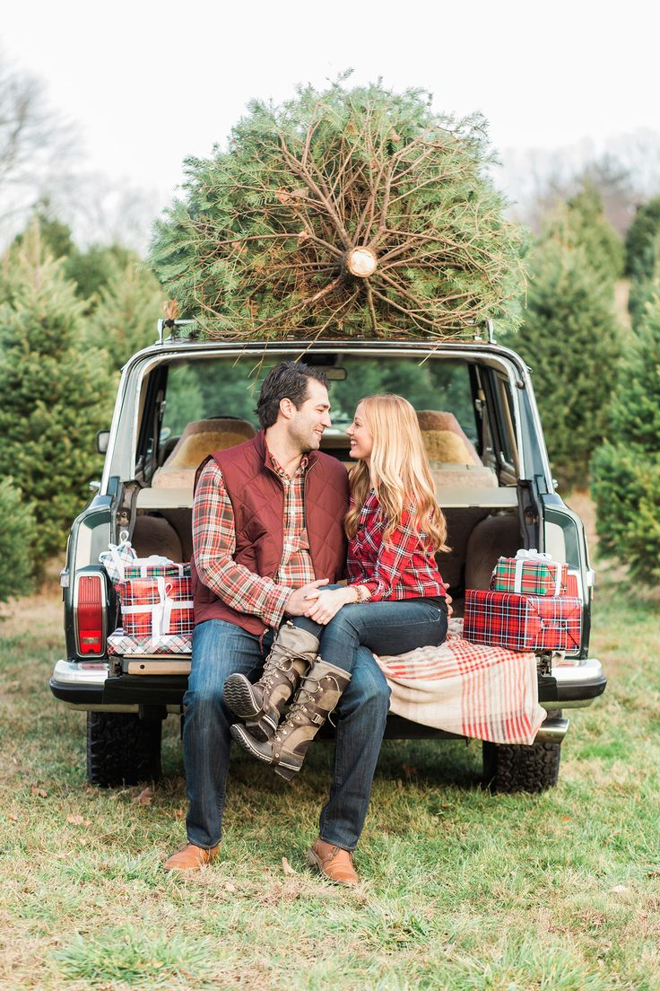 Andy and Kate are two of the sweetest people you could meet. We spent an  afternoon at a local Christmas Tree Farm with our 91 wood paneled Jeep  Grand Wagoneer on the hunt for the perfect tree for their holiday. Planning  their shoot was a lot of fun-we knew we wanted to do something that  captured the holiday spirit, so we went with plaid and fairisle in reds,  greens, blues and creams for a cozy, festive aesthetic.