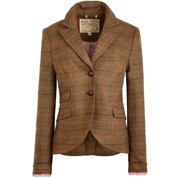 Pre-owned Jack Wills Austerberry Brown Check Blazer (£86) ❤ liked on Polyvore featuring outerwear, jackets, blazers, brown check, jack wills, brown tweed jacket, wool tweed blazer, checkered blazer and tweed jacket
