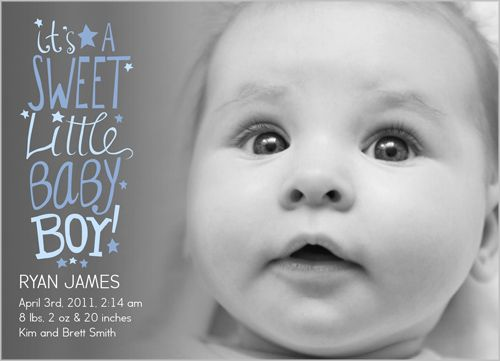Sweet Scribbles Boy Birth Announcement