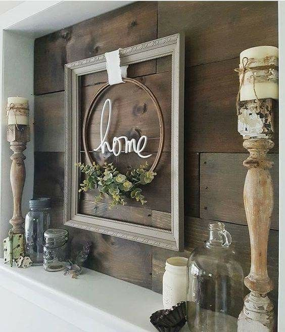 Bilderrahmen mit Efrukranz fürs Wohnzimmer als Dekoration