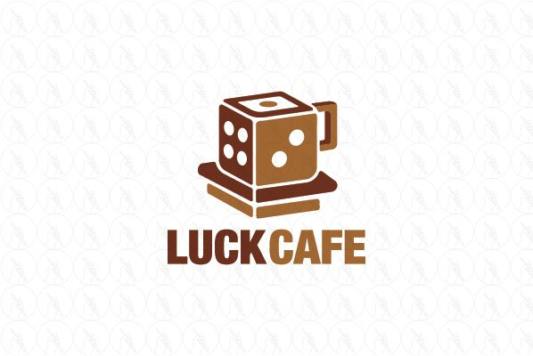 Luck Cafe - $240 (negotiable) http://www.stronglogos.com/product/luck-cafe #logo #design #sale #coffeeshop #restaurant #coffee #board #luck #dice #console #games