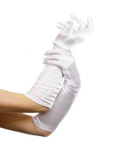 Γάντια Σατέν Άσπρα  Με Σούρα