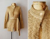 15% off CouponCode quindici vintage KNUBBY KNIT cardigan / BEIGE anni ottanta avvolgere maglione con cintura