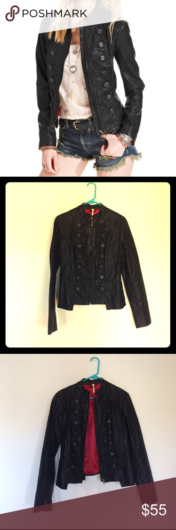 Free People Black Military Jacket. Size 6.? Black military jacket by Free People. Red lining on inside. Lightly worn. Tailored fit. Size 6. Free People Jackets & Coats