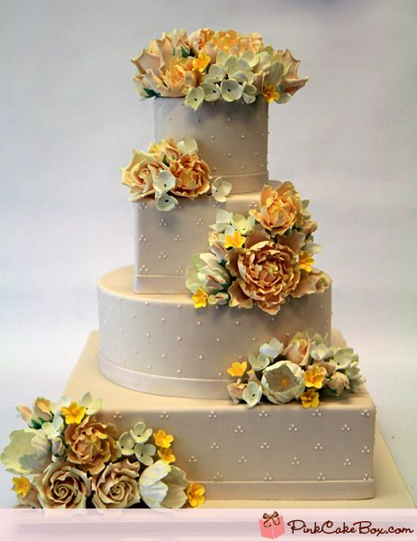 4 Tier Flower Wedding Cake By Pink Box