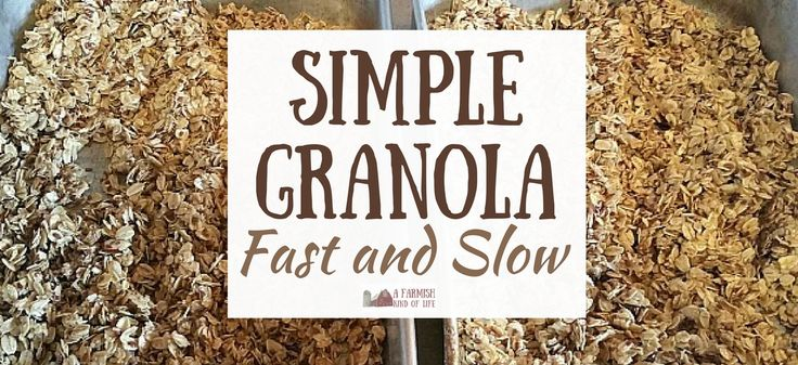 Granola is a favorite treat at our house, because it's so simple to make! Here are two simple granola recipes we use: one fast, and one slow.