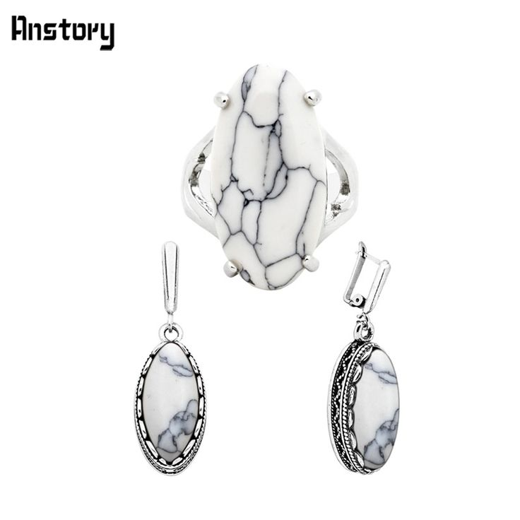 Clip On Earrings Claw Ring White Turquoise Jewelry Sets Personality Antique Silver Plated Party Birthday Wedding Gift TS266