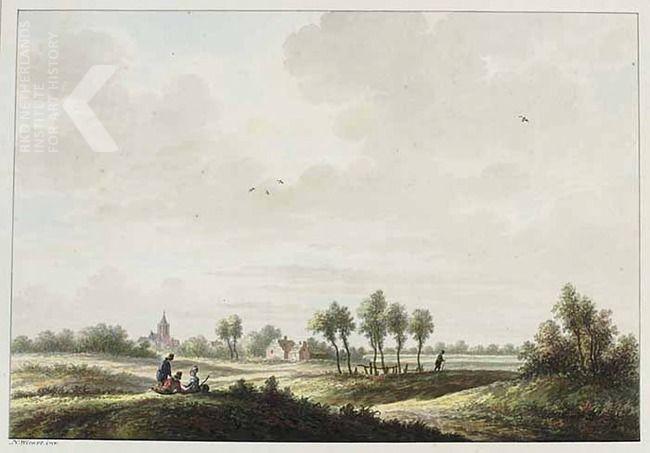 Buurmalsen, graafschap Buren     gesigneerd linksonder: N: Wicart. inv.  opschrift in verso: t dorp Búúrmalzen, in t Maasland / gelderland  Huidige toeschrijving   Nicolaas Wicart  Datering   1763 - 1815