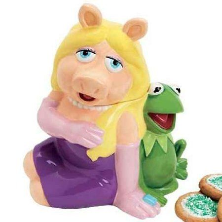 The Muppets Miss Piggy sitting with Kermit Cookie Jar