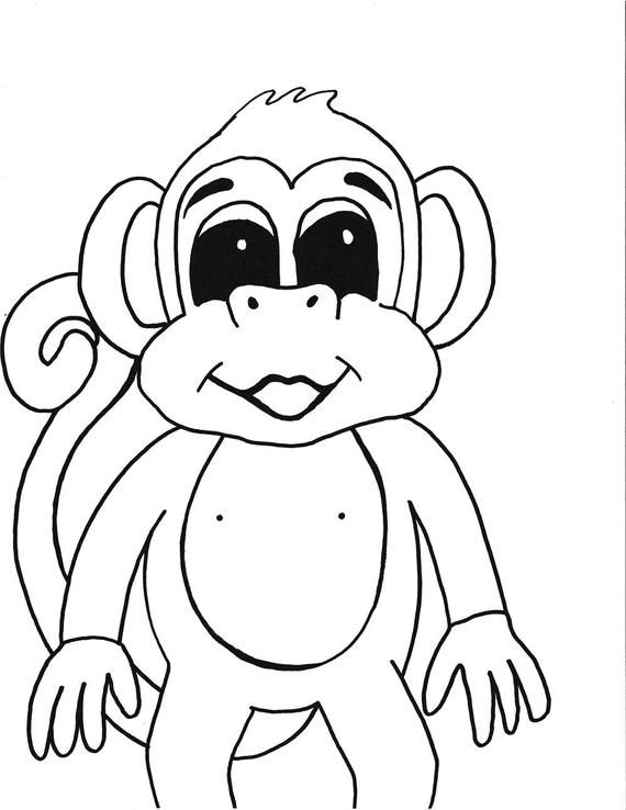 Monkey Printable Coloring Page Printable Kids Coloring Instant Download Black White Art Handmade Hand Drawn Cartoon Monkey Monkey Coloring Pages Coloring Pages Printable Coloring Pages