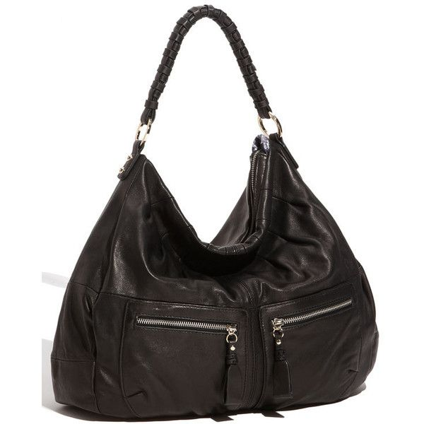 Junior Drake 'Rhianna' Zip Pocket Hobo ($149) ❤ liked on Polyvore featuring bags, handbags, shoulder bags, purses, women, handbags & purses, leather purse, genuine leather handbags, hobo handbags and leather man bag