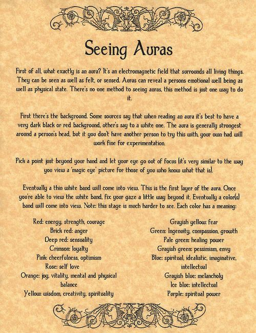 Book of Shadows: #BOS Seeing Auras page.