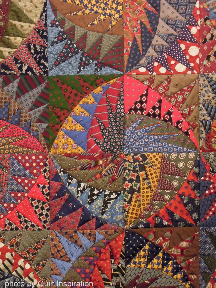 close up, Recycled silk ties quilt by Virginia Anderson, photo by Quilt…