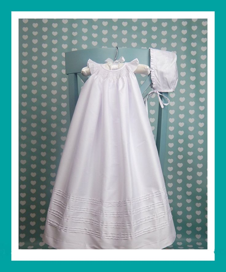 Long Christening Gown with Bonnet  - infant christening dress - white  shantung gown - blessing dress with bonnet - Long Baptism Gown by SUMACLOTHING on Etsy https://www.etsy.com/listing/220922449/long-christening-gown-with-bonnet-infant