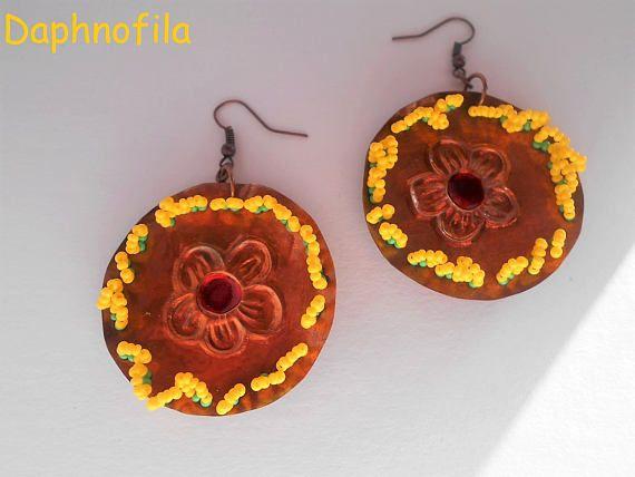 Flower earrings Copper earrings Summer earrings Handmade
