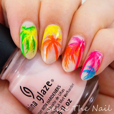 summer nails palm trees neon