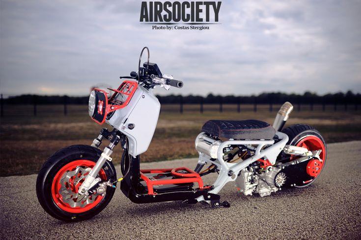 honda ruckus air ride suspension bagged custom: Bike Chopper Baggers Scoot, Custom Honda Ruckus, Air Riding, Motorcycles Scoot, Ruckus Roundup, Wheels Ruckus, Ruckus Air, Honda Zoomer, Ruckus Dreams