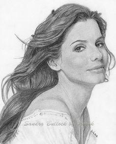 """*Pencil Sketch - """"Sandra Bullock"""" by Irinuk"""