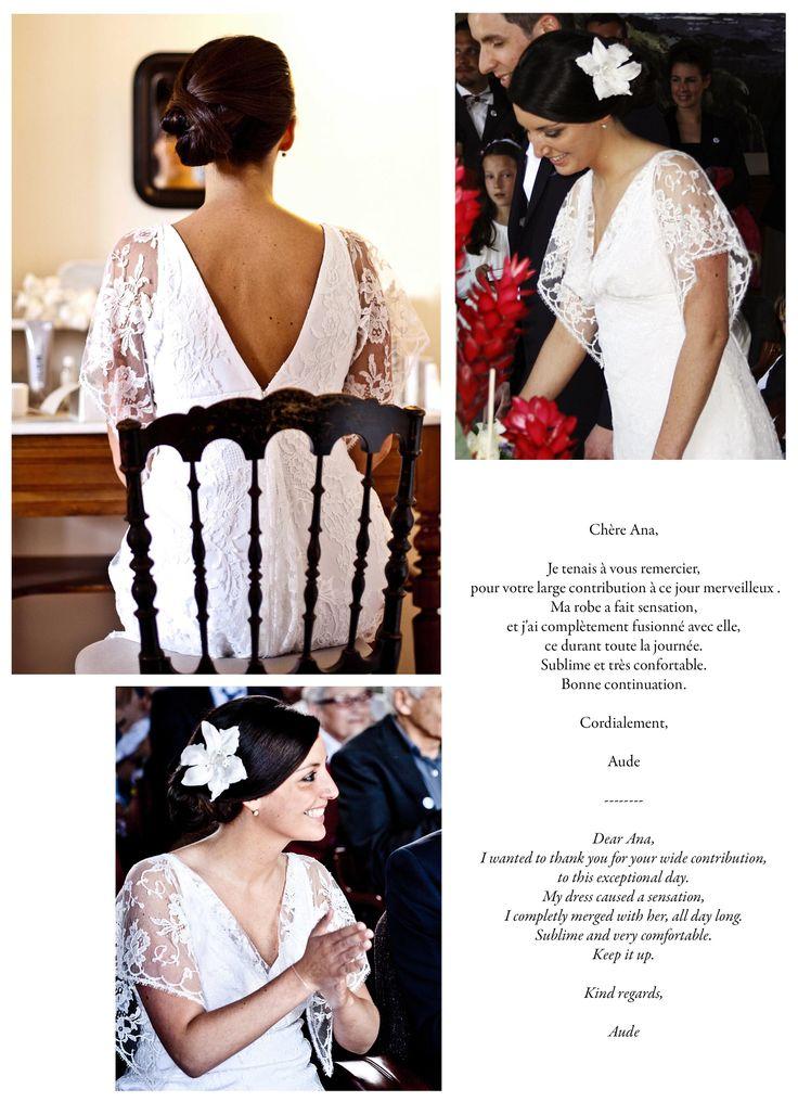 Aude, dans sa version de la robe IDYLLE. Aude, in her version of the gown IDYLLE.