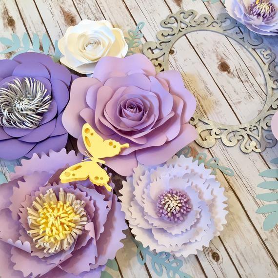 Large Paper Flowers Wall Decor Lilac Nursery Wall Art Purple Home Decor Lavender Floral Arrangement Purple Nursery Decor Girl Paper Flower Wall Decor Large Paper Flowers Wall Decor Purple Nursery Decor