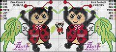 Χειροτεχνήματα: Σχέδια με πασχαλίτσες για κέντημα / Ladybug cross stitch patterns