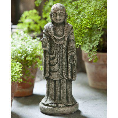 Campania International Artifact Buddha Cast Stone Garden Statue Aged Limestone - OR-125-AL