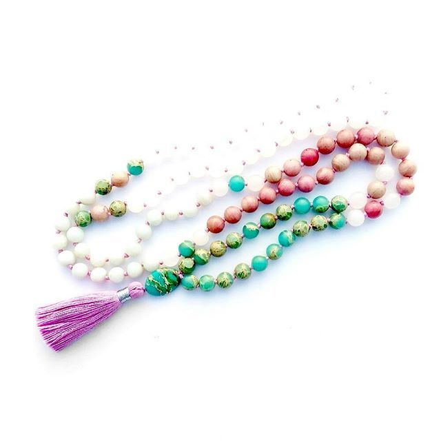 """""""She dreams of the ocean late at night and longs for the wild sea air."""" 🐬🐚🐬 Mermaid Kiss Mala is made of Turquoise Jasper,  Rhodonite and White Jade 🙏💖🙏"""