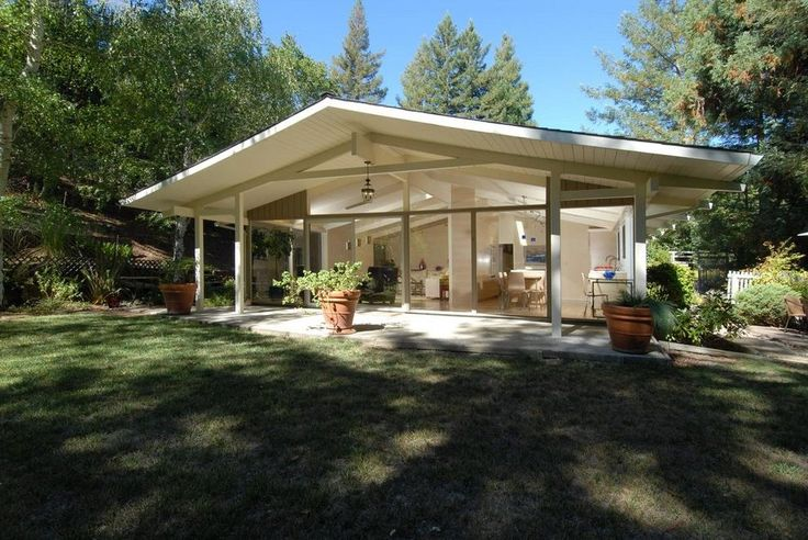 glass gable end exterior midcentury with roof overhang modern ...