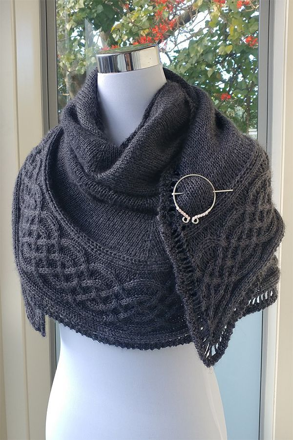 Free Knitting Pattern for Celtic Myths Shawl – Half circle shawl with a beautifu…