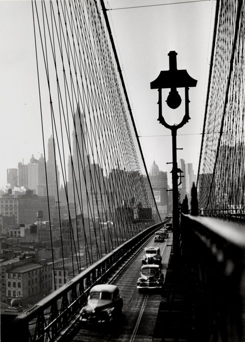 NUC. New York Harbor, Looking Toward Manhattan from the Footpath on Brooklyn Bridge, October, 1946