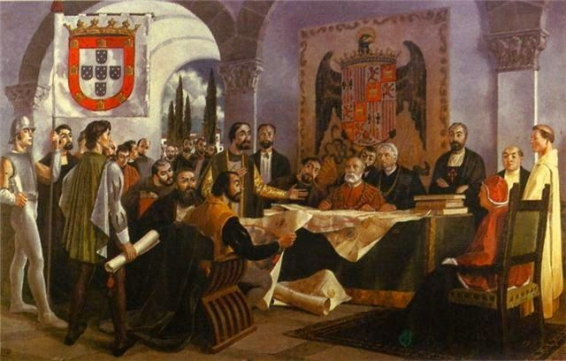 Portugal and Spain divide the New World with Tordesillas treaty - 1494
