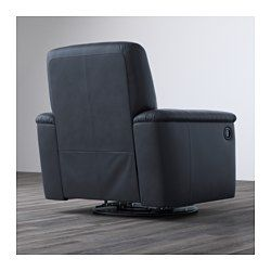 "IKEA - TIMSFORS, Swivel recliner, Mjuk/Kimstad black, , Soft, dyed-through 3/64"" thick grain leather that is supple and smooth to the touch.The outer surfaces are covered in a durable coated fabric with the same look and feel as leather.The armrests with extra padding are comfortable to lean against.The built-in footrest is easy to fold in and out. Just pull the handle to fold it out and press with your feet to fold it back in.10-year limited warranty. Read about the terms in the limite..."