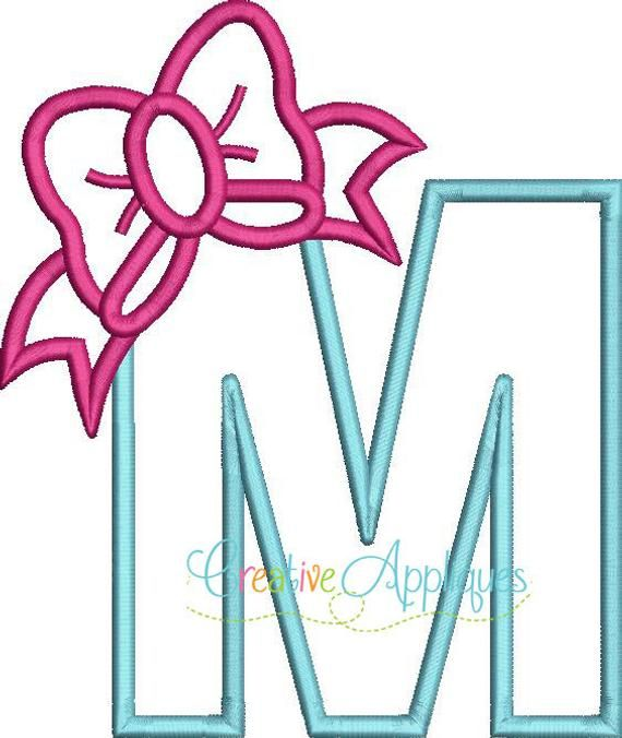 M Bow Letter M Applique Machine Embroidery Design 4 Sizes Bow Letter Applique Letter Applique Embroidery Designs Machine Embroidery Designs Digital Embroidery