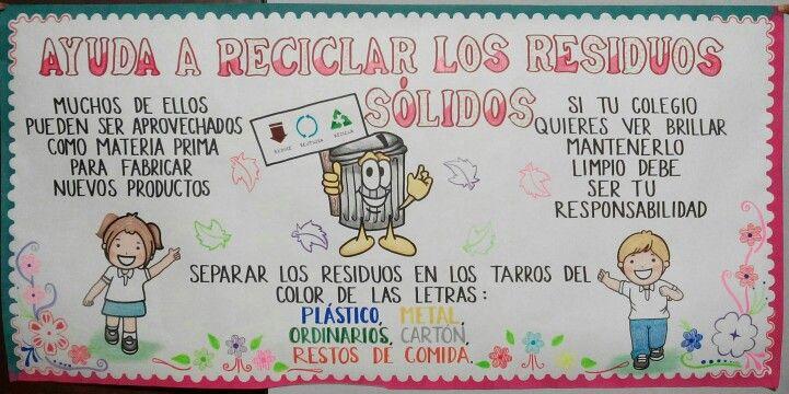 Cartelera reciclaje  crayolas